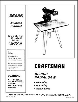 Sears Craftsman  Radial Arm Saw Manual No.113.199450