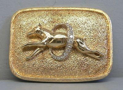 Incredible 14k Gold & Diamond Doberman or Manchester Terrier Belt Buckle