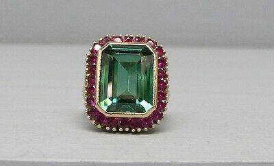 Gorgeous 10 Carat Green & Ruby Red Spinel 14k Gold Ring Size 8