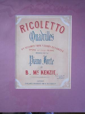 Lovely Old Antique Victorian Mounted Sheet Music Colour Cover Interior Decor