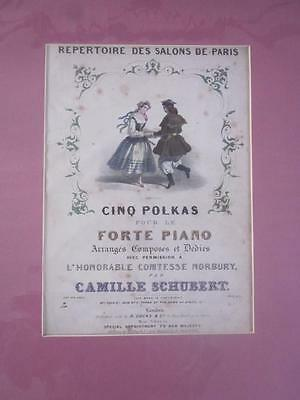 Lovely Old Antique Victorian Mounted Sheet Music Pretty Cover Interior Decor