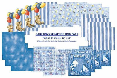 "SCRAPBOOKING PAPER, Baby Boy, Mixed pack 24, 30cm x 30cm, 12"" x 12"""