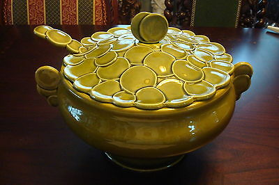 MUNCIE Green Large Vegetable Bowl with Laddle, marked 1A7, c1920s RARE!!