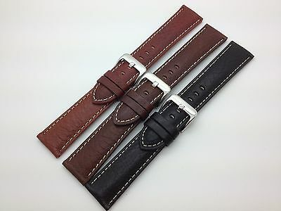 22mm Black Brown Tan Hadley Roma Genuine Leather Watch Band White Stitched MS906