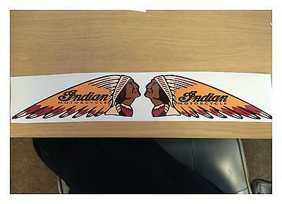 130Mm X 50Mm Indian (Pair) Motorcycle Sticker Decal Retro