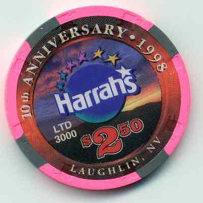 Harrah's Laughlin   Casino $2.50  10Th Anniversary  1998  Casino  Chip