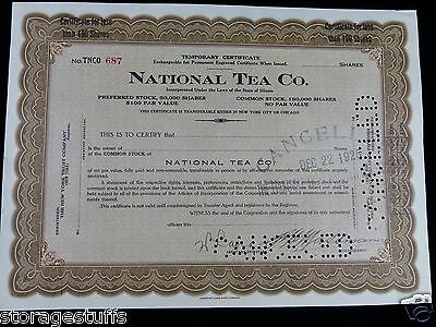 stock certificate for the National Tea Co.  dated Dec 22 1925 cancelled