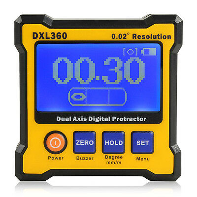 Dual Axis Digital Protractor Surface Inclinometer Angle finder Meter Level Box
