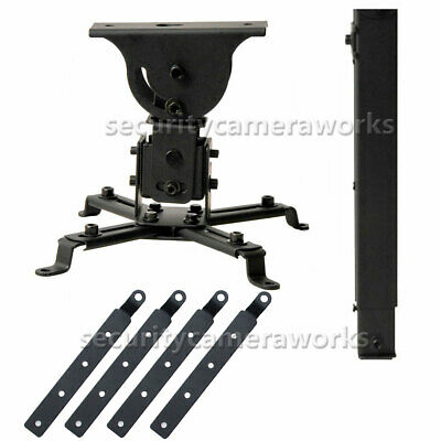Universal LCD DLP Projector Ceiling Mount Swivel Bracket 44lbs and 4 Adapter bjw
