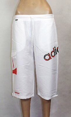 Ex Adidas Girls 3 / 4 Pants Tracksuits Bottoms in White Colour With Orange Logo