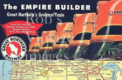 Great Northern Railroad Empire Builder Seattle Chicago Poster1940-1950 Train 500