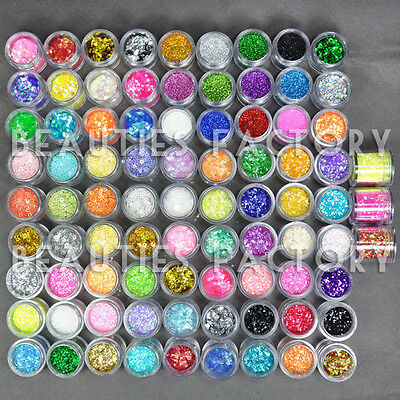 BF 84 Colors Glitter Powder Beads For Acrylic UV Gel Nail Art Decoration 423