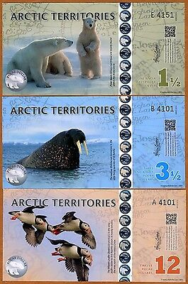 SET Arctic Territories, $1 1/2, $3 1/2, $12, 2014, Polymer, UNC> Arctic Animals