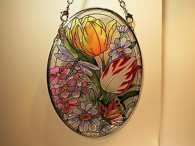 AMIA Stained Glass Suncatcher-Botanical Floral & Butterfly-Small Oval-New In Box