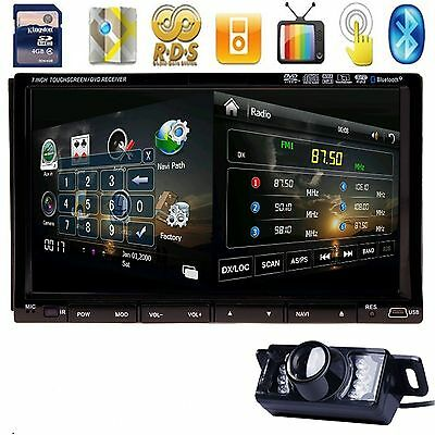 "GPS Nav TV Bluetooth Car Stereo DVD SD iPod Player 2Din 7"" HD+FREE CAMERA"