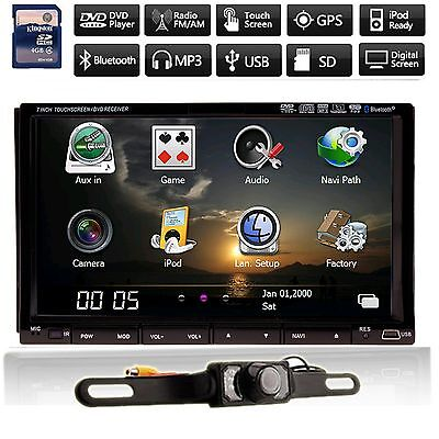 "7"" HD LCD Double DIN Car GPS Stereo DVD Player Touch Screen Bluetooth+Camera"