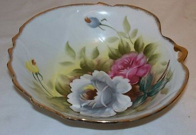 Lefton 6200N Bowl w/ Pink White Roses & Gold