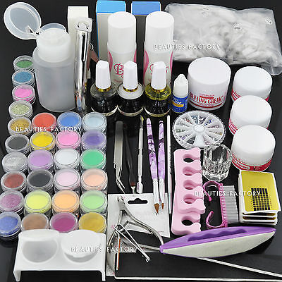 BF Acrylic Powder Nail Art Kit UV Gel Manicure DIY Tips Polish Brush Set #667
