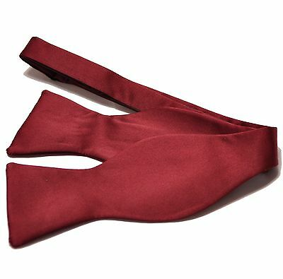 New Men's 100% Polyester Solid Formal Self-tied Bow Tie Only Burgundy