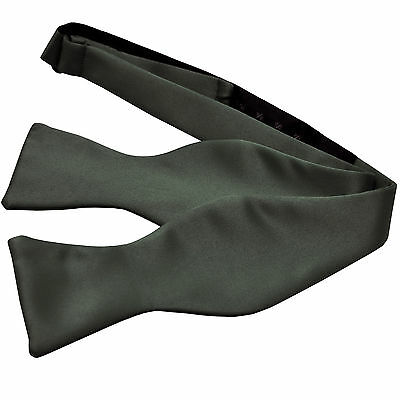 New Men's 100% Polyester Solid Formal Self-tied Bow Tie Only Dark Gray