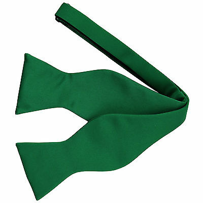 New Men's 100% Polyester Solid Formal Self-tied Bow Tie Only Emerald Green