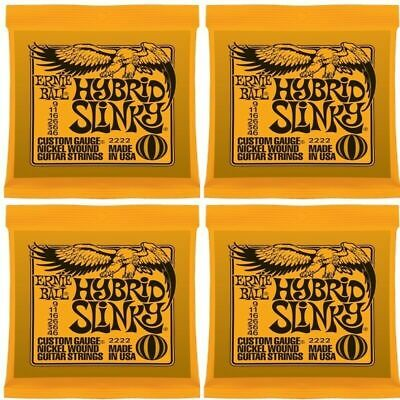 4 x Ernie Ball 2222 Nickel Hybrid Slinky Electric Guitar Strings 4 Sets 9 - 46