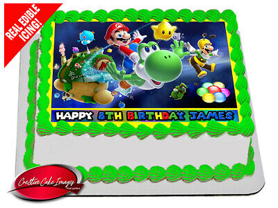 Super Mario Bros Galaxy Edible Icing Image Cake Topper Personalised Decoration