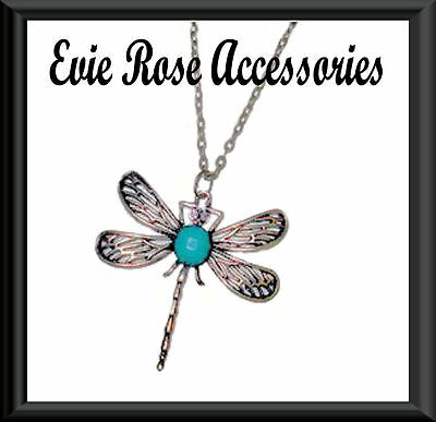 "Diamante & Green Jewel Large Dragonfly Pendant 28"" Long Gold Statement Necklace"