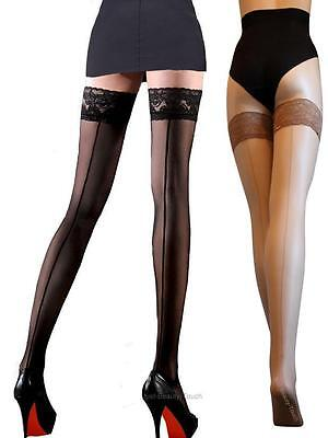 Cuban Heel Hold Ups With Back Seam 20 Denier Size S M L XL new