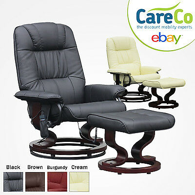 NEW Napoli Heat and Massage Swivel Recliner Chair with Footstool in Black