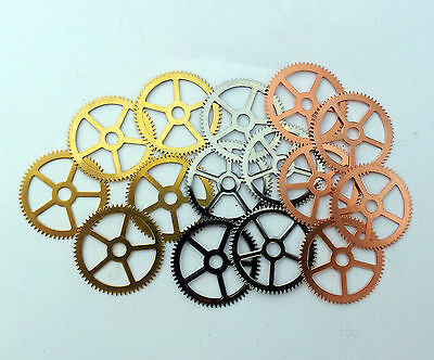 Steampunk Watch pieces parts gears cogs wheels - 15 Brass, Silver, Copper 25mm