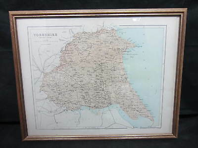 VICTORIAN FRAMED HISTORICAL MAP OF THE EAST RIDING - YORKSHIRE