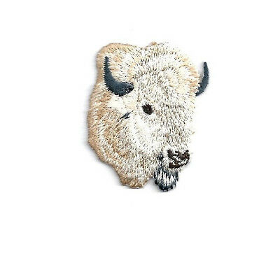 Buffalo - Southwest Buffalo Head - White - Embroidered Iron On Patch