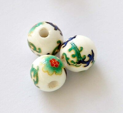 15pcs Hand Painted Flower Ceramics Porcelian Beads Finding--Jewelry Beads--10mm