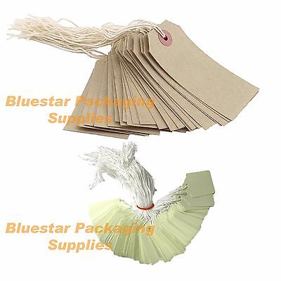 Quality Pre Strung Price Tags / Labels Brown or White Various Sizes