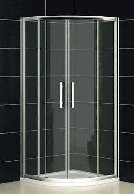 800mm Glass Quadrant Shower  Enclosure Part Stone Resin Tray Pearl Bright