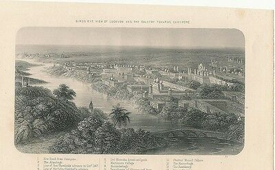 Birds-eye view of Lucknow India 1860 antique steel engraved print