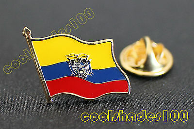 Ecuador National Flag Waving Metal Lapel Pin Badge