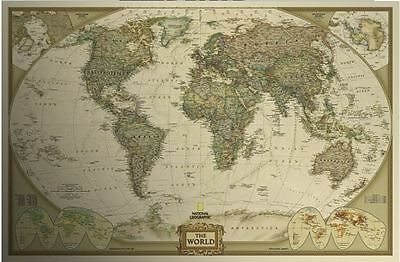 Cartina Geografica Mondo Poster.Mappa Del Mondo Poster 50x70 Cm World Map Vintage Cartina