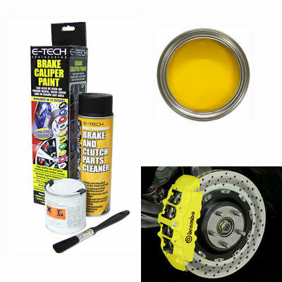 E-Tech Brake Caliper Paint Kit - Use On Calipers,drums, Hubs, Engine Bay- Yellow