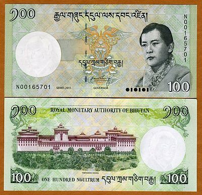 Bhutan,  100 Ngultum, 2011, Pick 40, UNC -> ornate
