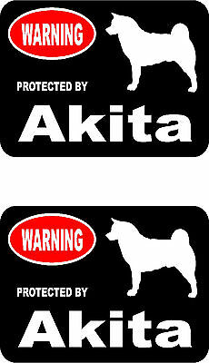 2 protected by Akita dog car home window bumper vinyl stickers