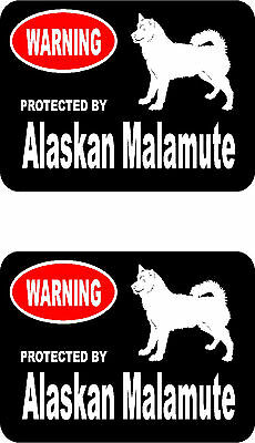 2 protected by Alaskan Malamute dog car home window bumper vinyl stickers
