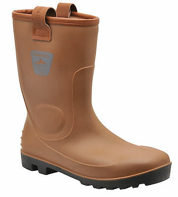 Mens TAN Neptune Wateproof  Rigger Steel Toe Cap Rigger Safety Boots FW75