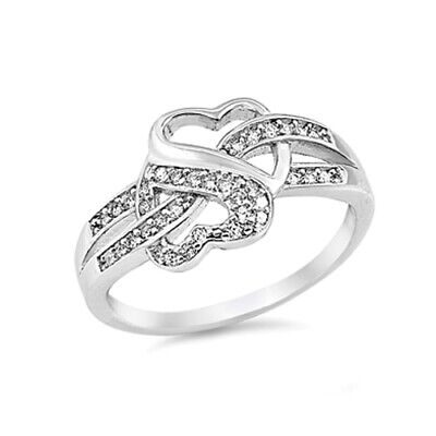 .925 Sterling Silver Infinity Promise Heart Love Knot Ring Clear CZ Size 4-12