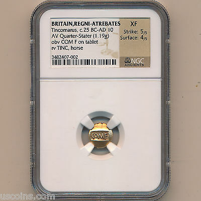 Celtic Britain Gold AV 1/4 Stater Tincomarus 25 BC- 10 AD NGC XF 5x4 #01124135b