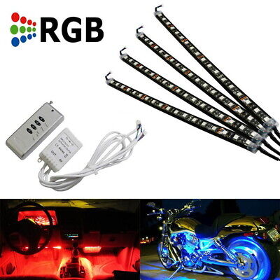 """4 x 12"""" 7 Color RGB LED Knight Rider Ground Effect Light Kit For Motorcycle Bike"""