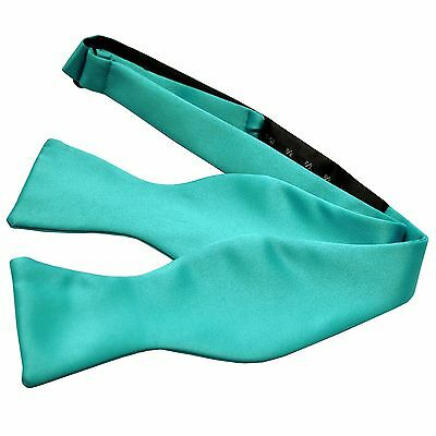 New Men's 100% Polyester Solid Formal Self-tied Bow Tie Only Aqua Blue