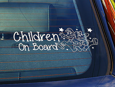 Static Cling Window Car Sign/Decal ChildrenOn Board Super Mario 100mm x 250mm 23