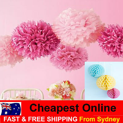 Tissue Paper Pom Poms Honeycomb Ball for Wedding Party Baby Living Decor Pompoms